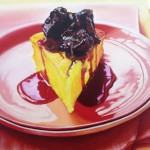 sweet polenta cake with stewed plums