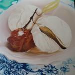 poached cumquat and honey icecream