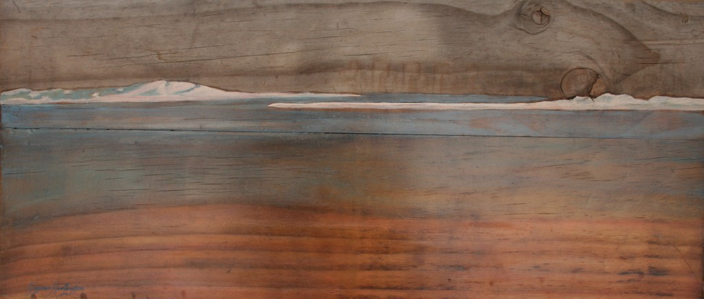 Meeting Of the Waters Study 3 Oil and wax on recycled board 57 x 25cm GH